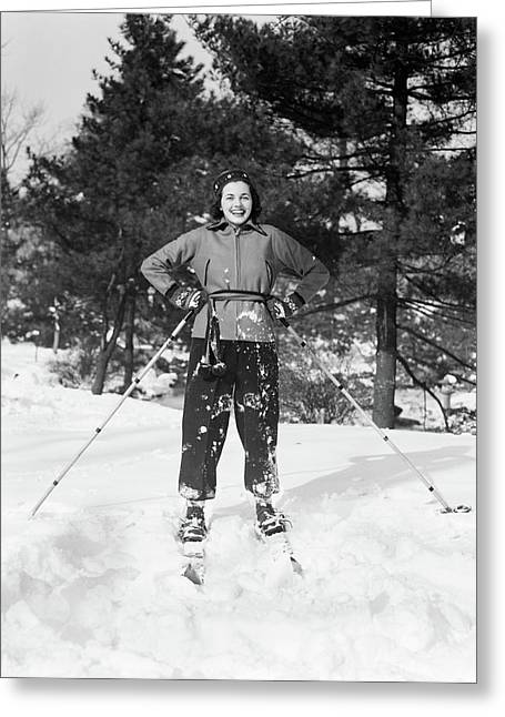 1930s Smiling Woman On Skis Hands Greeting Card