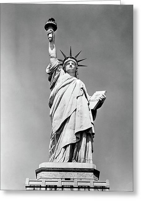 1930s Statue Of Liberty Ny Harbor Ellis Greeting Card