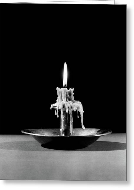 1930s Still Life Of Lit Candle Burned Greeting Card