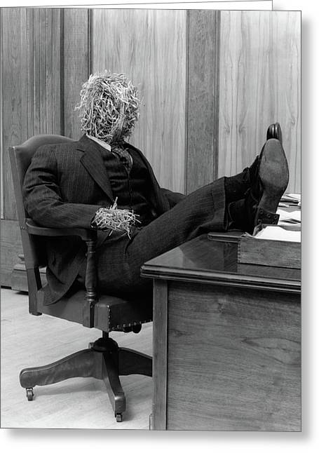 1930s Straw Man In Suit & Tie Seated Greeting Card