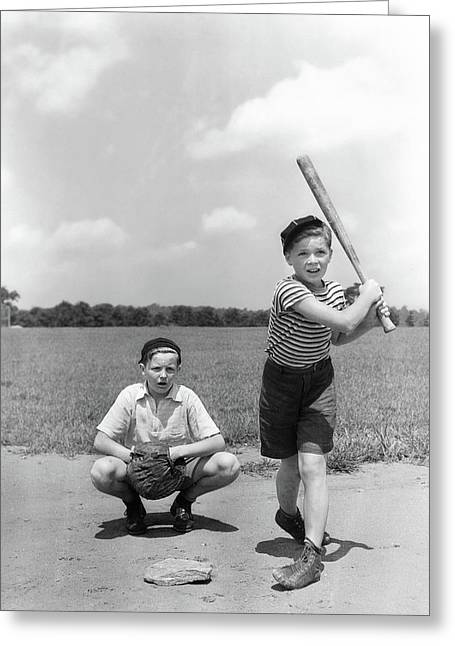 1930s Two Boys Batter And Catcher Greeting Card