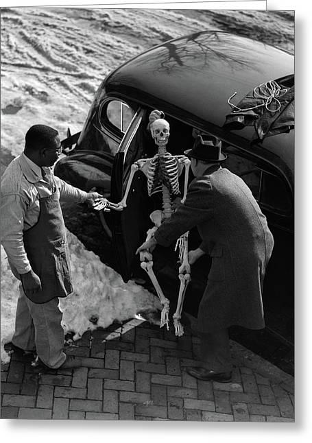 1930s Two Men Taking Skeleton Greeting Card