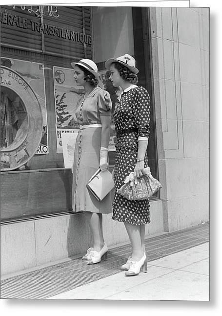 1930s Two Young Women Window Shopping Greeting Card