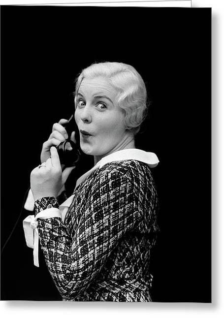 1930s Woman Talking On Telephone Greeting Card