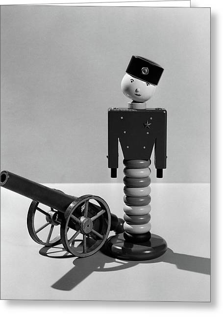 1930s Wooden Toy Soldier Next To Cannon Greeting Card