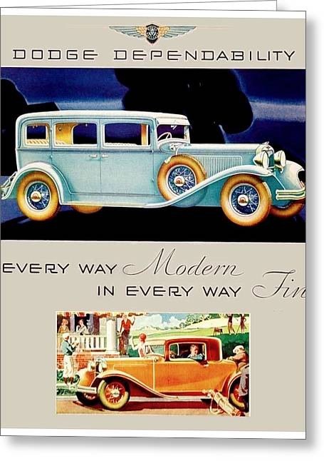 1931 - Dodge Sedan And Coupe Automobile Advertisement - Color Greeting Card by John Madison