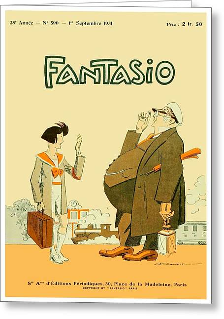1931 - Fantasio French Magazine Cover - September - Color Greeting Card by John Madison