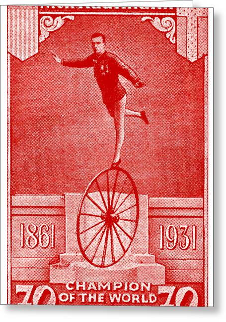 1931 Bicycle Acrobat Champion Greeting Card by Historic Image