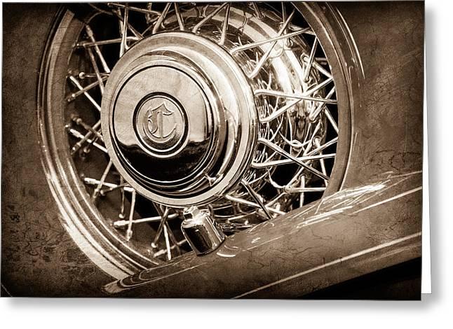 1931 Chrysler Cg Imperial Dual Cowl Phaeton Spare Tire Emblem Greeting Card