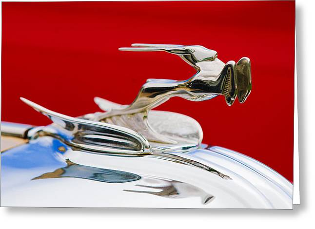 1931 Chrysler Coupe Hood Ornament Greeting Card by Jill Reger