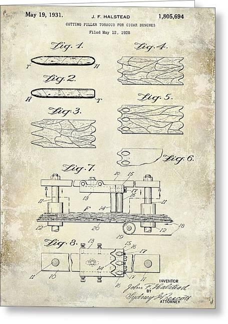 1931 Cigar Filler Patent Drawing  Greeting Card by Jon Neidert