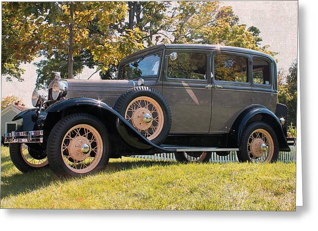 1931 Ford Sedan On Hill At Greenfield Village In Dearborn Michigan Greeting Card by Design Turnpike