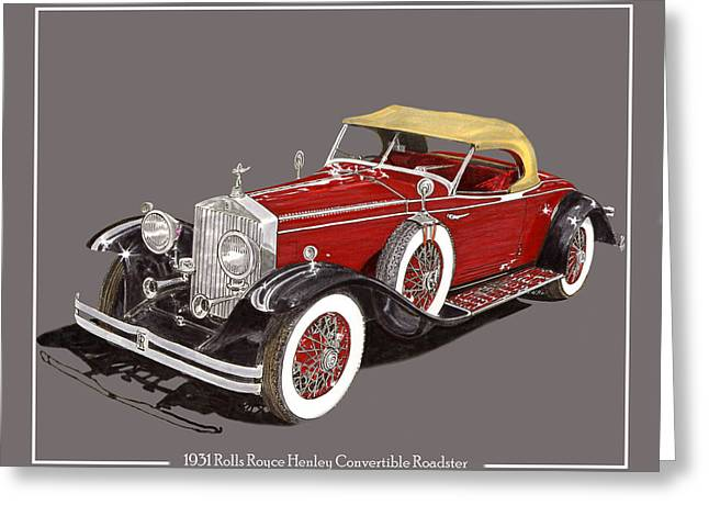 1931 Henley Rolls Royce Henley Roadster Greeting Card by Jack Pumphrey