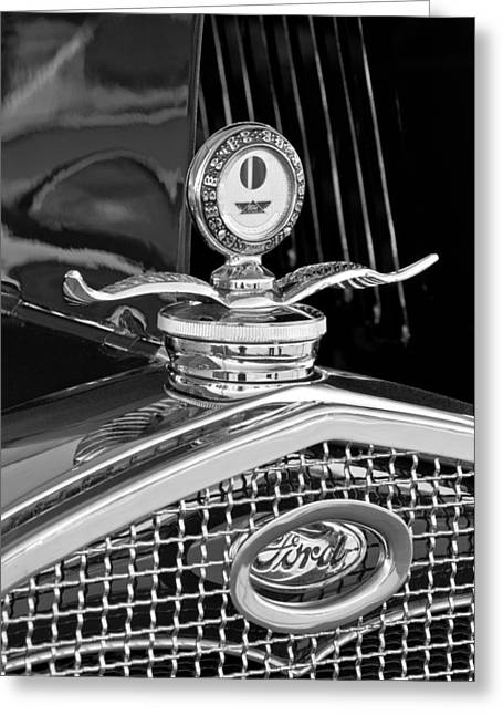1931 Model A Ford Deluxe Roadster Hood Ornament 2 Greeting Card by Jill Reger