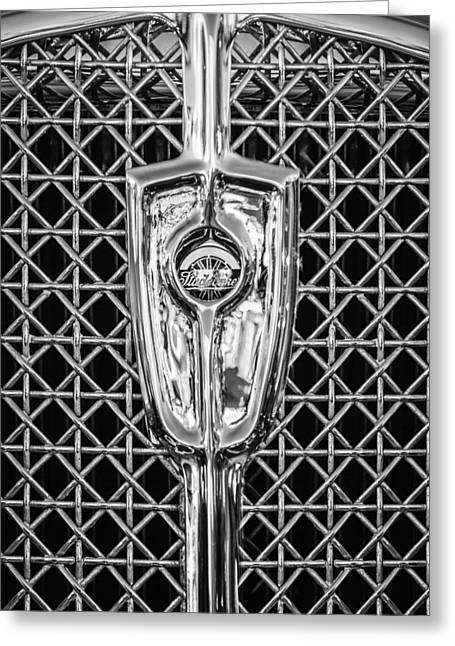 1931 Studebaker President Four Seasons Roadster Grille Emblem -1013bw Greeting Card by Jill Reger