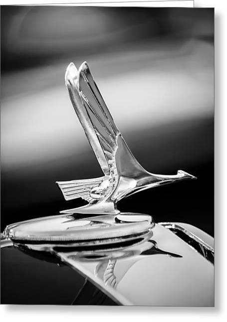 1931 Studebaker President Four Seasons Roadster Hood Ornament -1066bw Greeting Card by Jill Reger