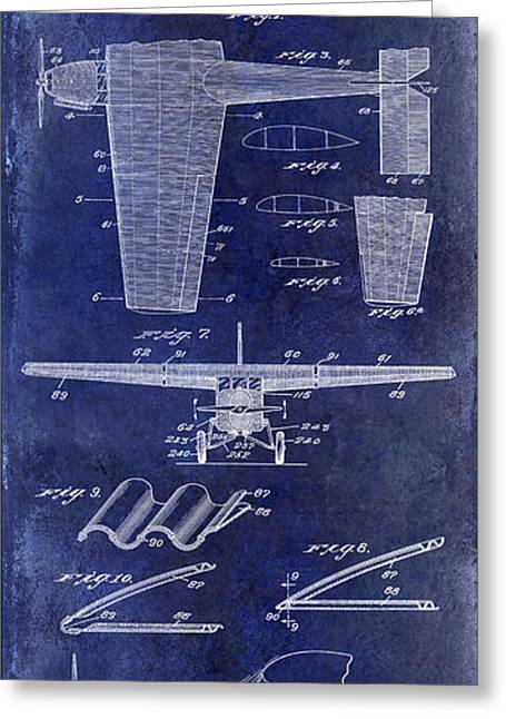 1932 Airplane Patent Drawing Blue1932 Airplane Patent Drawing Blue Greeting Card by Jon Neidert