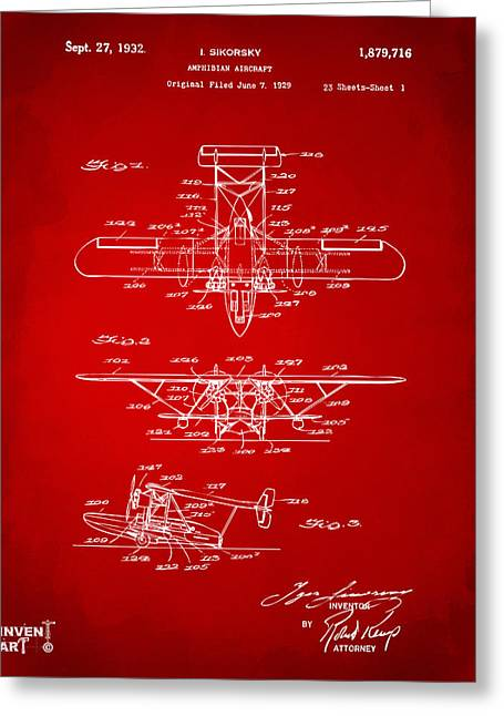 1932 Amphibian Aircraft Patent Red Greeting Card