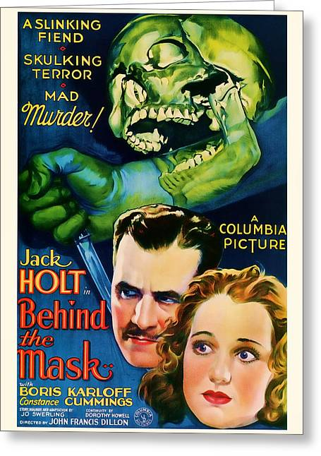 1932 Behind The Mask Vintage Movie Art Greeting Card
