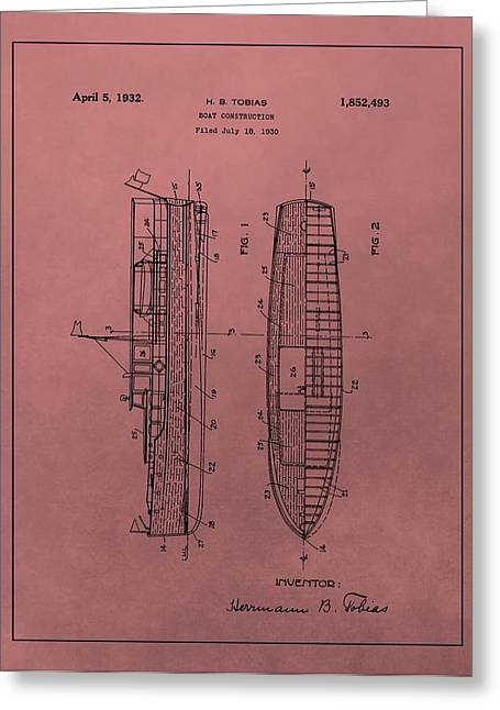 1932 Boat Patent Red Greeting Card by Dan Sproul