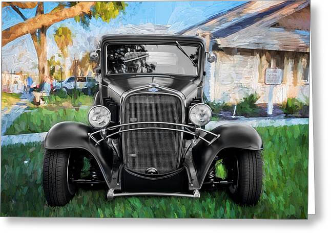 1932 Chevrolet 5 Window Coupe Painted Bw  Greeting Card by Rich Franco