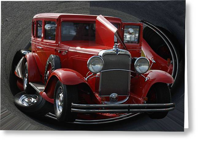 Greeting Card featuring the pyrography 1932 Chevrolet by B Wayne Mullins