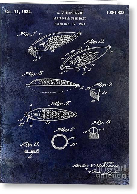 1932 Fishing Patent Drawing Blue Greeting Card by Jon Neidert