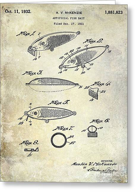 1932 Fishing Patent Drawing  Greeting Card by Jon Neidert