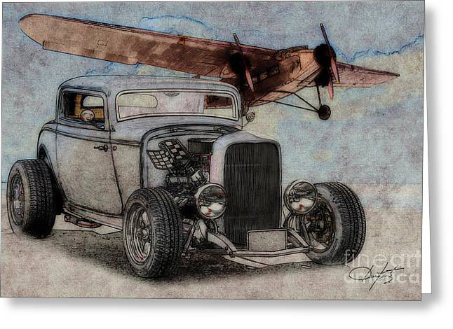 1932 Ford Coupe And Ford Trimotor Plane Greeting Card