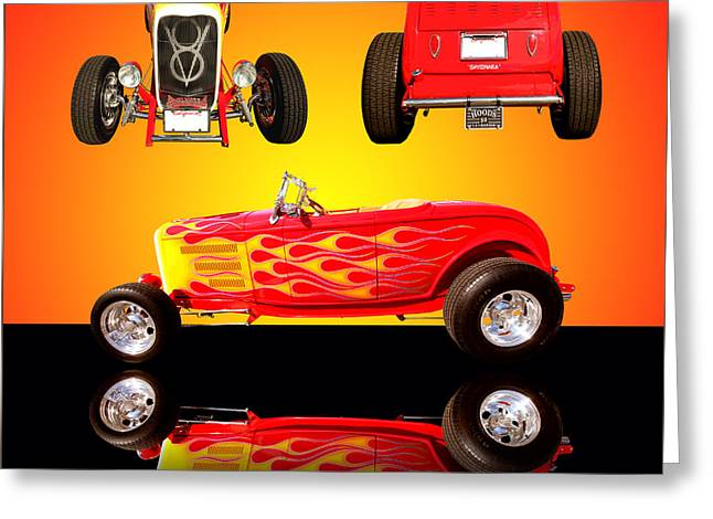 1932 Ford Flaming Hotrod Greeting Card