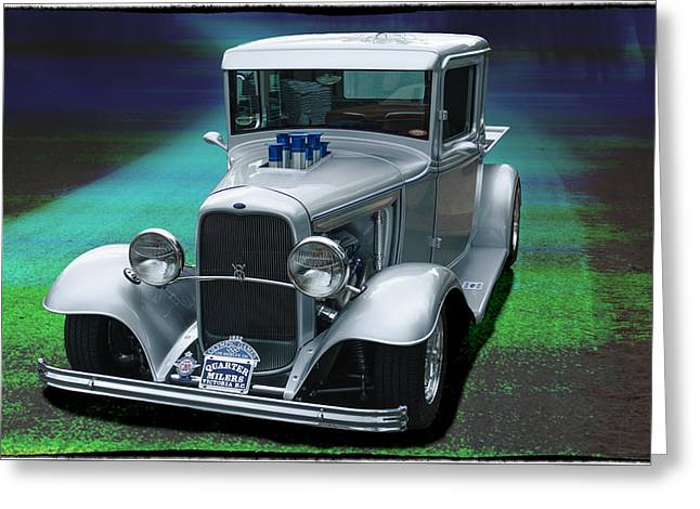 Greeting Card featuring the digital art 1932 Ford Pickup by Richard Farrington