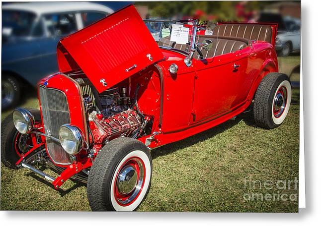 1932 Ford Roadster Classic Automobile Car In Color  3058.02 Greeting Card