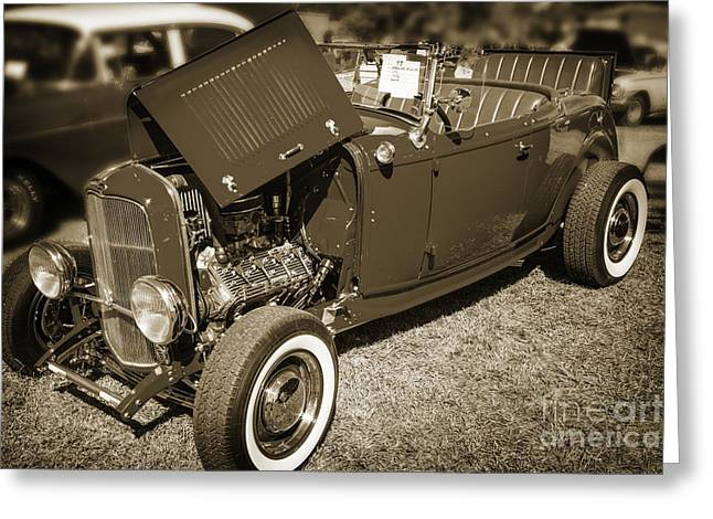 1932 Ford Roadster Classic Automobile Car In Sepia  3058.01 Greeting Card