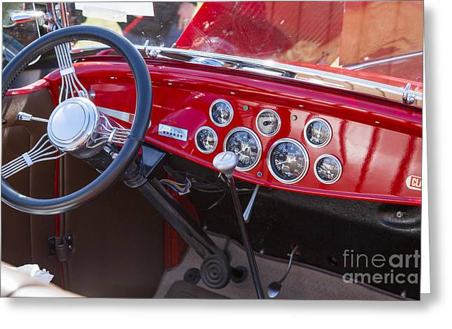 1932 Ford Roadster Interior Automobile Classic Car In Color  306 Greeting Card by M K  Miller