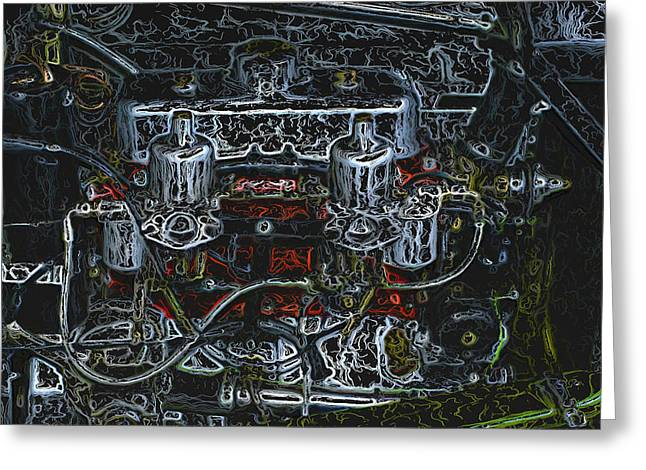 1932 Frazer Nash Tt Engine Detail Digital Art Greeting Card by John Colley