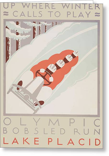 1932 Winter Olympics Greeting Card by American Classic Art