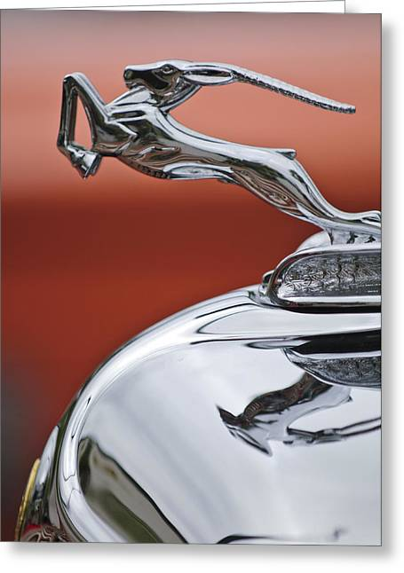 1933 Chrysler Cl Imperial Hood Ornament Greeting Card by Jill Reger