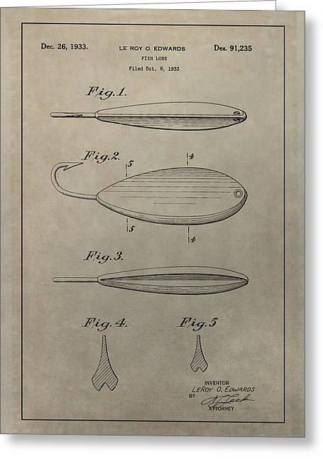 1933 Fish Lure Patent Greeting Card