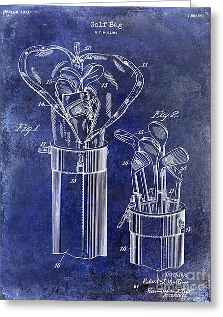 1933 Golf Bag Patent Drawing Blue Greeting Card by Jon Neidert