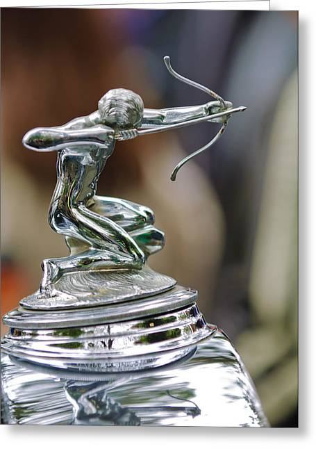1933 Pierce-arrow 1236 2-door Convertible Coupe Hood Ornament Greeting Card by Jill Reger