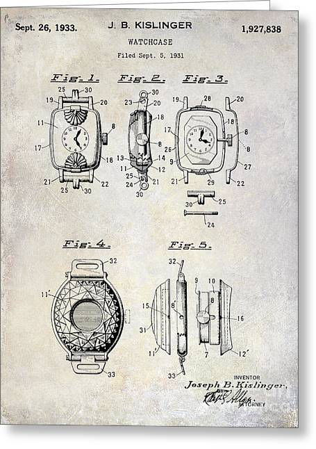 1933 Watch Case Patent Drawing  Greeting Card by Jon Neidert