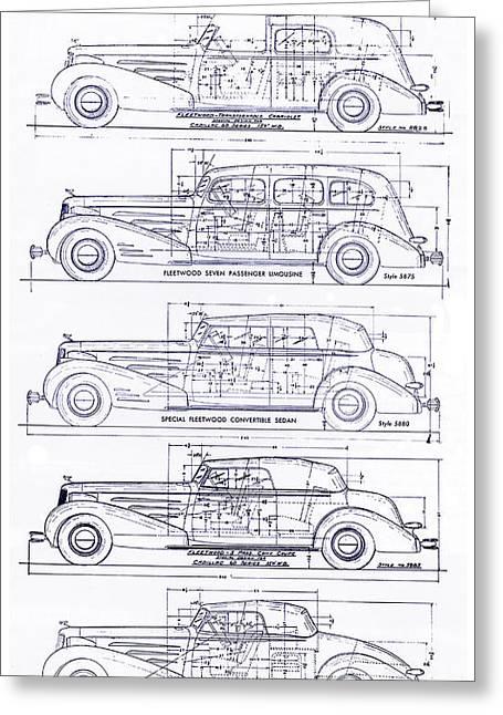 1934-37 Cadillac V-16 Body Types Blueprint Greeting Card