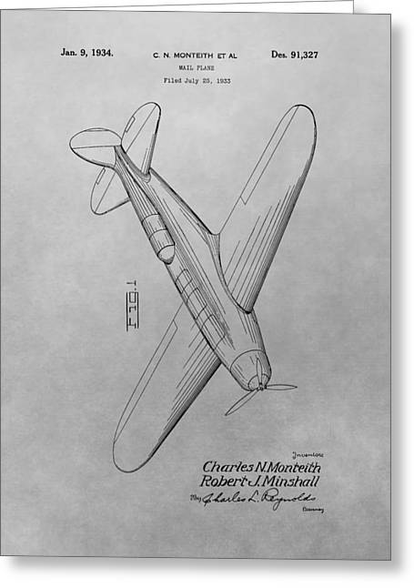 1934 Airplane Patent Drawing Greeting Card by Dan Sproul
