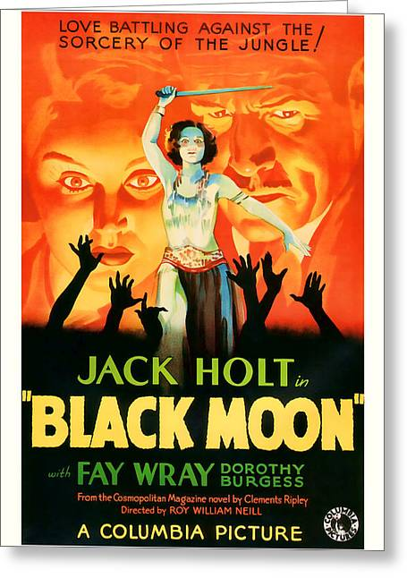 1934 Black Moon Vintage Movie Art Greeting Card