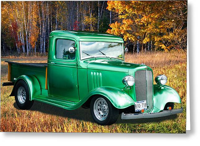 Greeting Card featuring the digital art 1934 Chev Pickup by Richard Farrington
