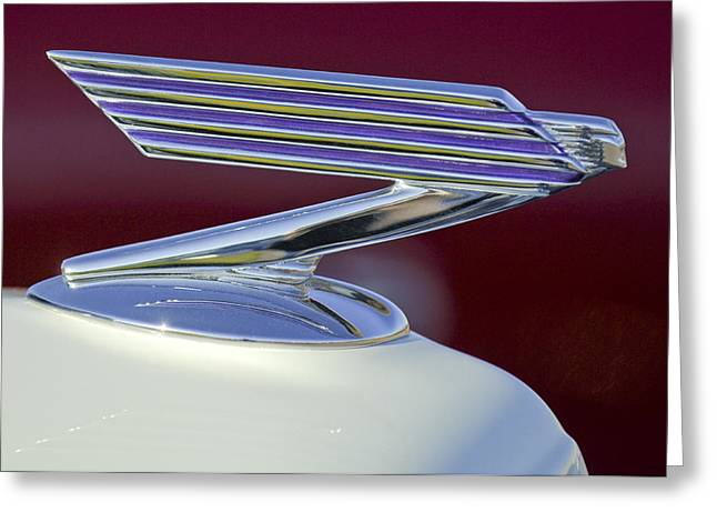 1934 Chevrolet Hood Ornament Greeting Card by Jill Reger
