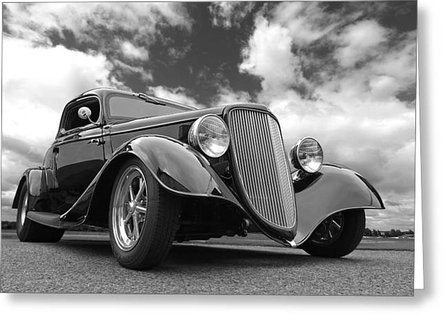 1934 Ford Coupe In Black And White Greeting Card