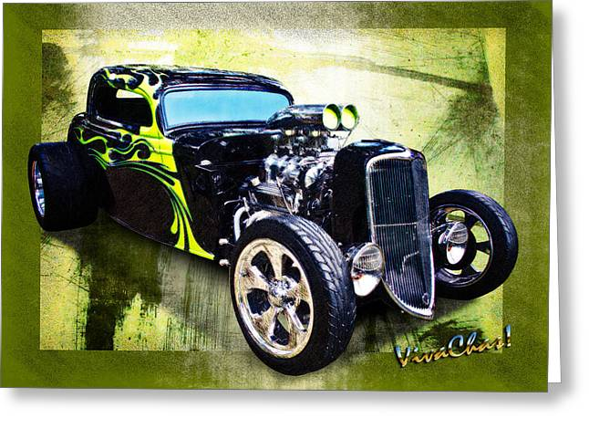 1934 Ford Three Window Coupe Hot Rod Greeting Card