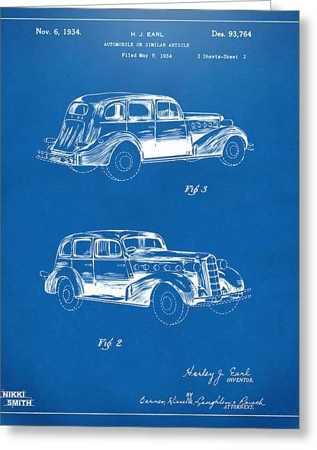 1934 La Salle Automobile Patent Artwork 2 - Blueprint Greeting Card by Nikki Marie Smith
