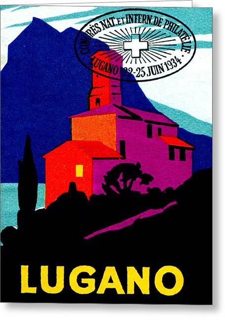 1934 Lugano Switzerland Greeting Card